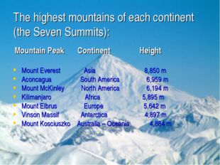 The highest mountains of each continent (the Seven Summits): Mountain Peak Co