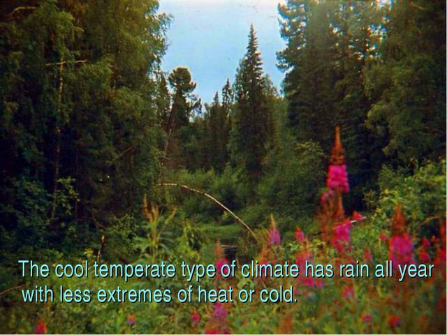 The cool temperate type of climate has rain all year with less extremes of h...