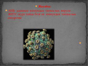 Жауабы: АИВ- адамның иммундық тапшылық вирусы , ЖИТС-жүре пайда болған иммунд