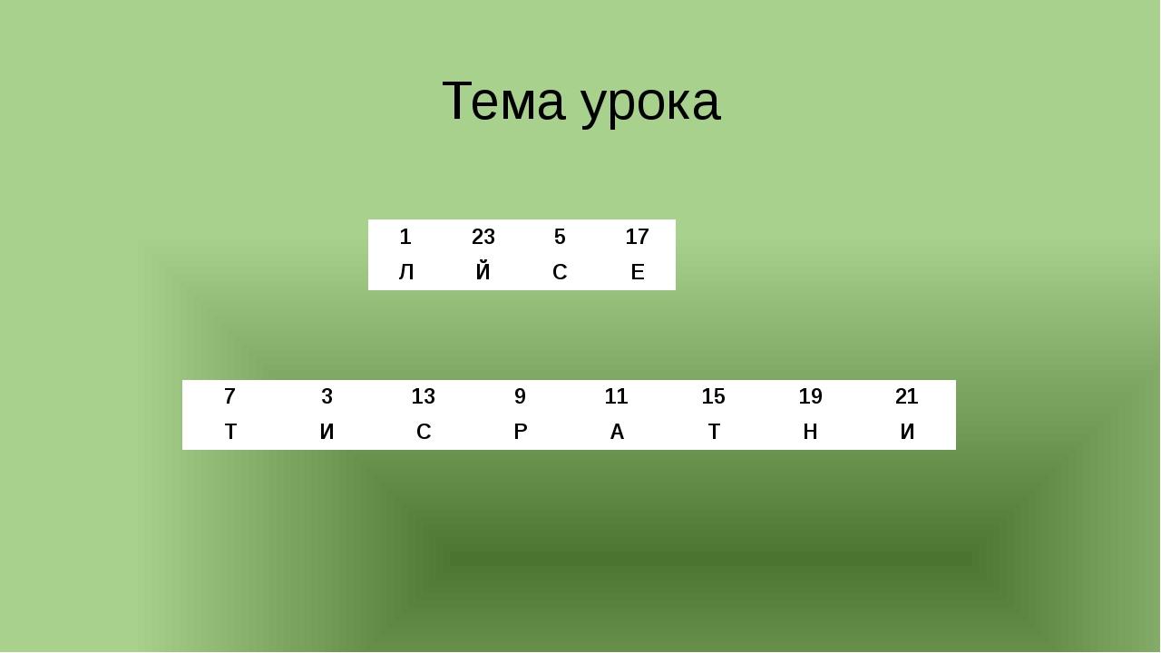 Тема урока 1 23 5 17 Л Й С Е 7 3 13 9 11 15 19 21 Т И С Р А Т Н И
