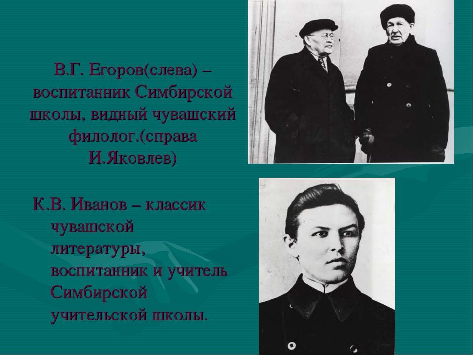 В.Г. Егоров(слева) – воспитанник Симбирской школы, видный чувашский филолог.(...