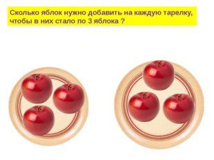 Сколько яблок нужно добавить на каждую тарелку, чтобы в них стало по 3 яблока ?