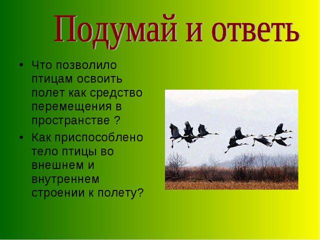 Что позволило птицам освоить полет как средство перемещения в пространстве ?...