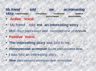 My friend told me an interesting story. подлежащее сказуемое косвенное прямое