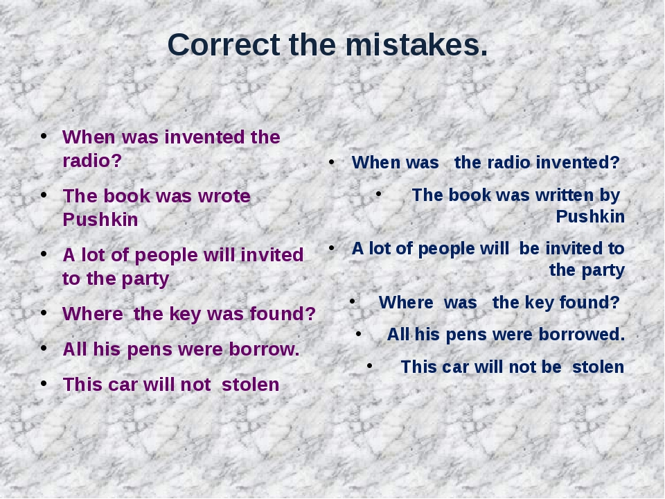 Correct the mistakes. When was invented the radio? The book was wrote Pushkin...