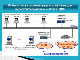 Всё-таки, какие системы лучше использовать для видеоконференцсвязи— IP или I
