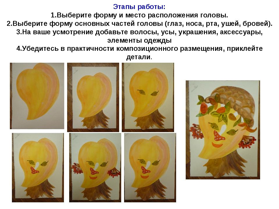Этапы работы: 1.Выберите форму и место расположения головы. 2.Выберите форму...