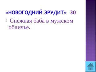 Снежная баба в мужском обличье.