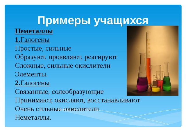 Примеры учащихся Неметаллы 1.Галогены Простые, сильные Образуют, проявляют, р...