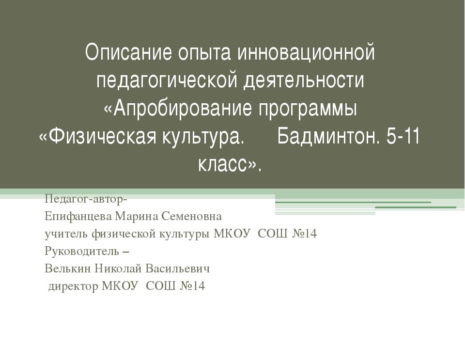 Описание опыта инновационной педагогической деятельности «Апробирование прогр...