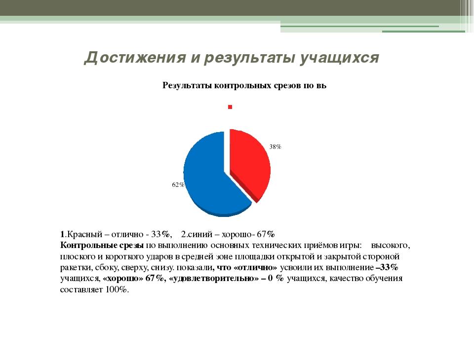 Достижения и результаты учащихся 1.Красный – отлично - 33%, 2.синий – хорошо-...