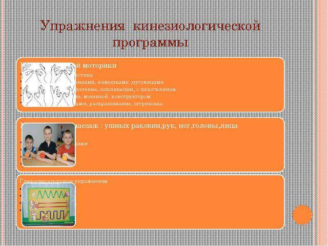 Упражнения кинезиологической программы
