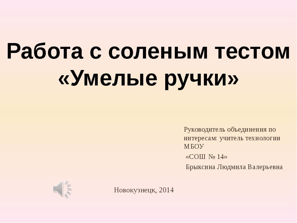 Новокузнецк, 2014 Руководитель объединения по интересам: учитель технологии М...