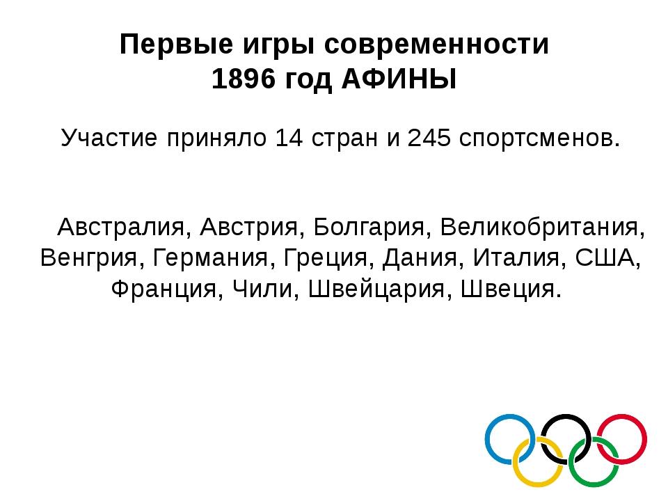 Первые игры современности 1896 год АФИНЫ Участие приняло 14 стран и 245 спорт...