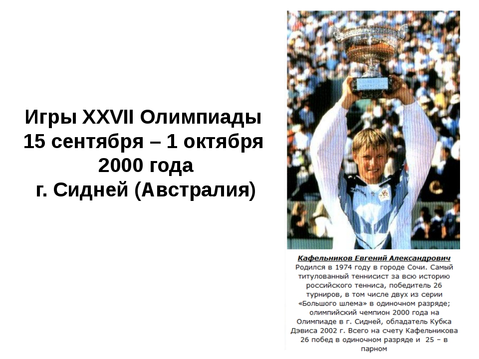 Игры XXVII Олимпиады 15 сентября – 1 октября 2000 года г. Сидней (Австралия)