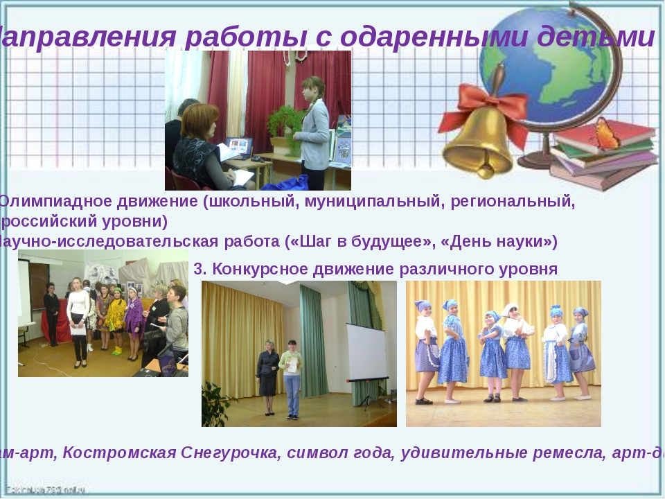 Направления работы с одаренными детьми Олимпиадное движение (школьный, муниц...