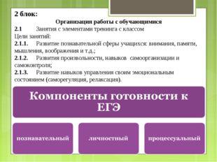2 блок: Организация работы с обучающимися 2.1Занятия с элементами тренинга с