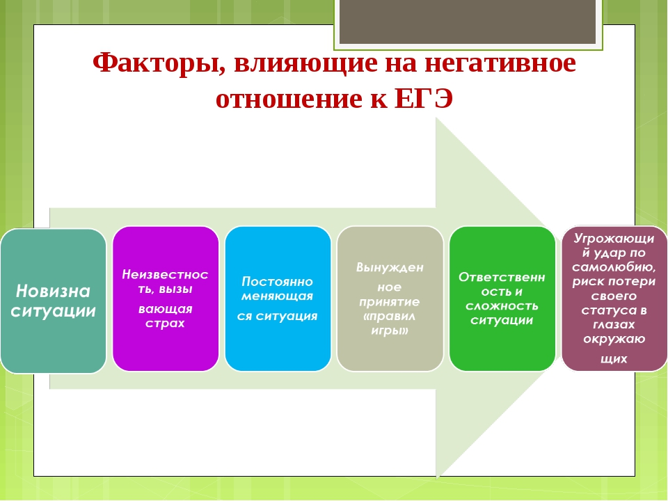 Факторы, влияющие на негативное отношение к ЕГЭ