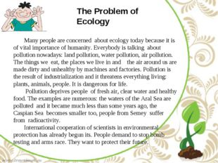 The Problem of Ecology Many people are concerned about ecology today because