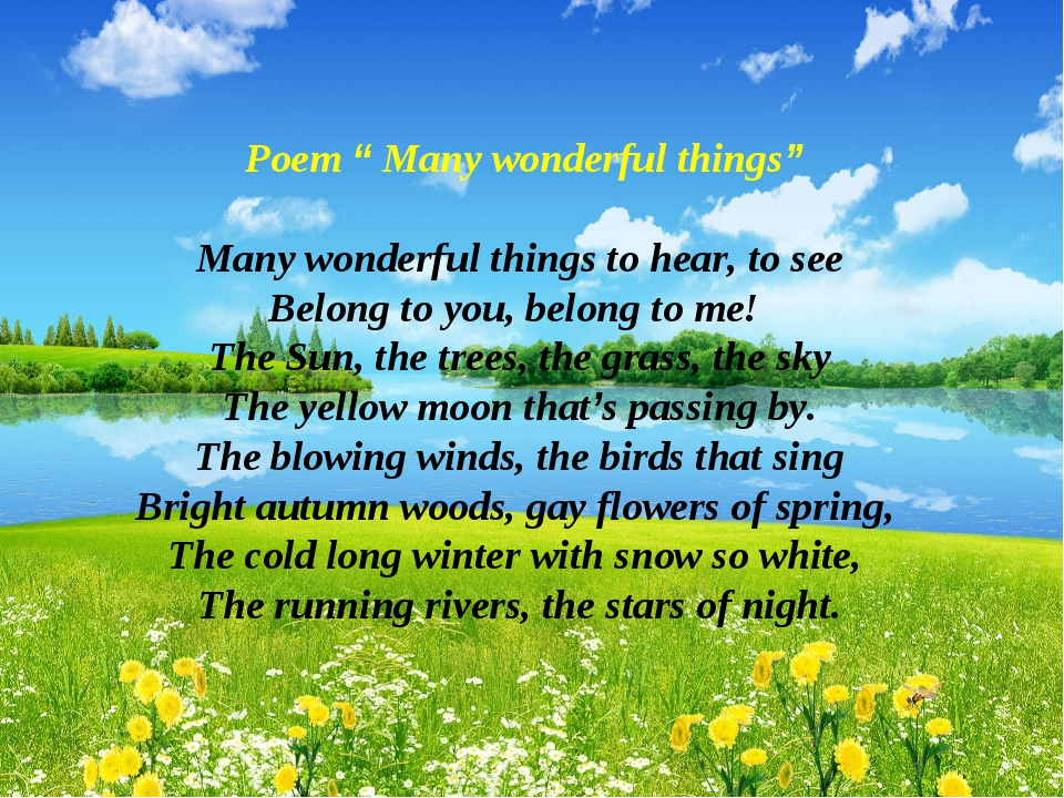 """Poem """" Many wonderful things"""" Many wonderful things to hear, to see Belong t..."""