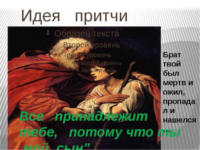 """Идея притчи Все принадлежит тебе, потому что ты мой сын"""". Брат твой был мерт..."""