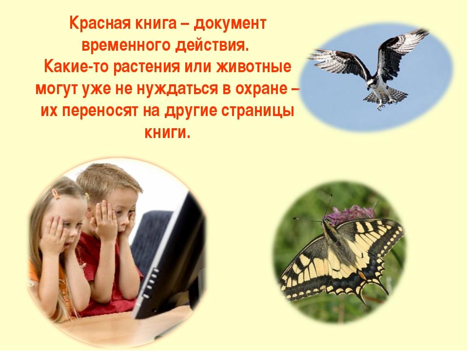 Красная книга – документ временного действия. Какие-то растения или животные...