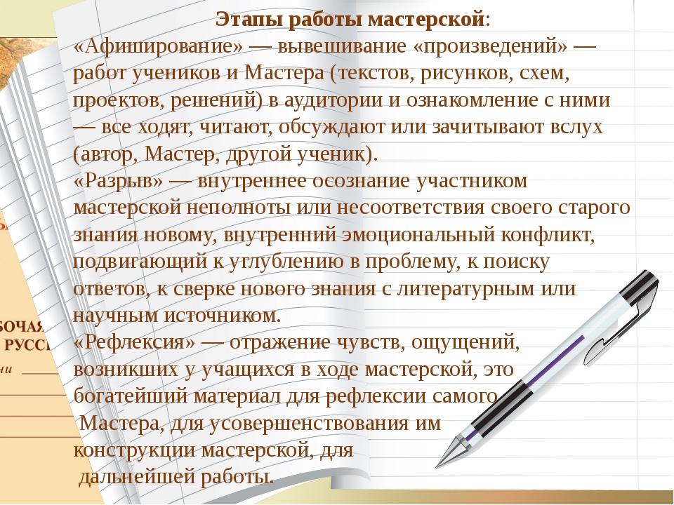 Этапы работы мастерской: «Афиширование» — вывешивание «произведений» — работ...