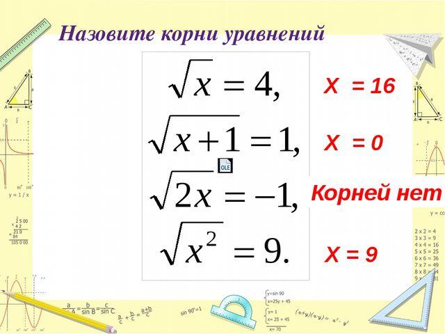 Назовите корни уравнений Х = 0 Х = 16 Корней нет Х = 9