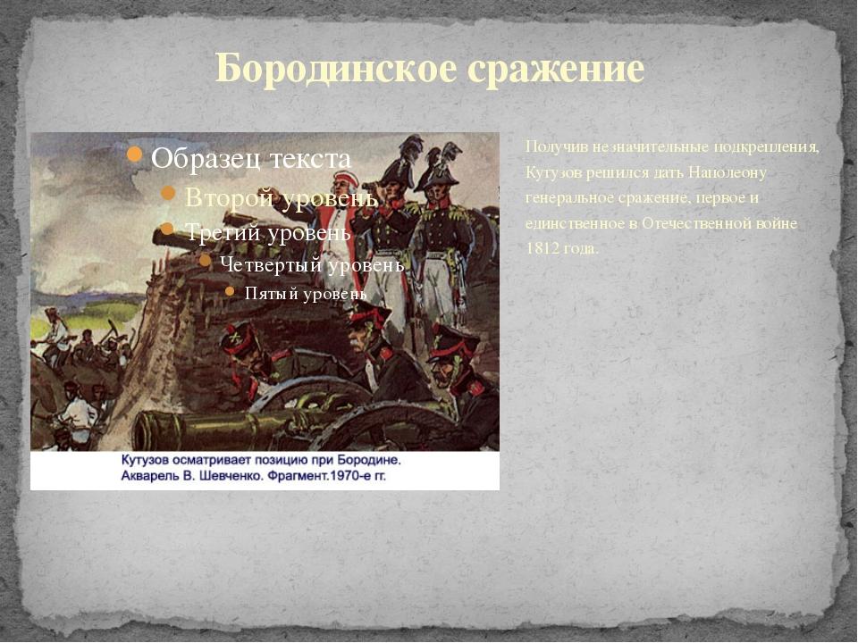 Получив незначительные подкрепления, Кутузов решился дать Наполеону генеральн...