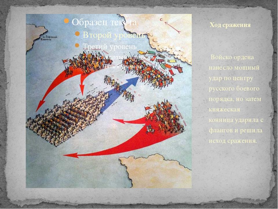 Войско ордена нанесло мощный удар по центру русского боевого порядка, но зат...