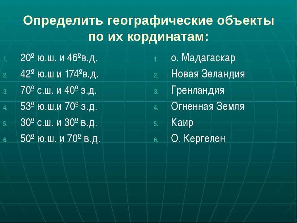 Определить географические объекты по их кординатам: 20º ю.ш. и 46ºв.д. 42º ю....