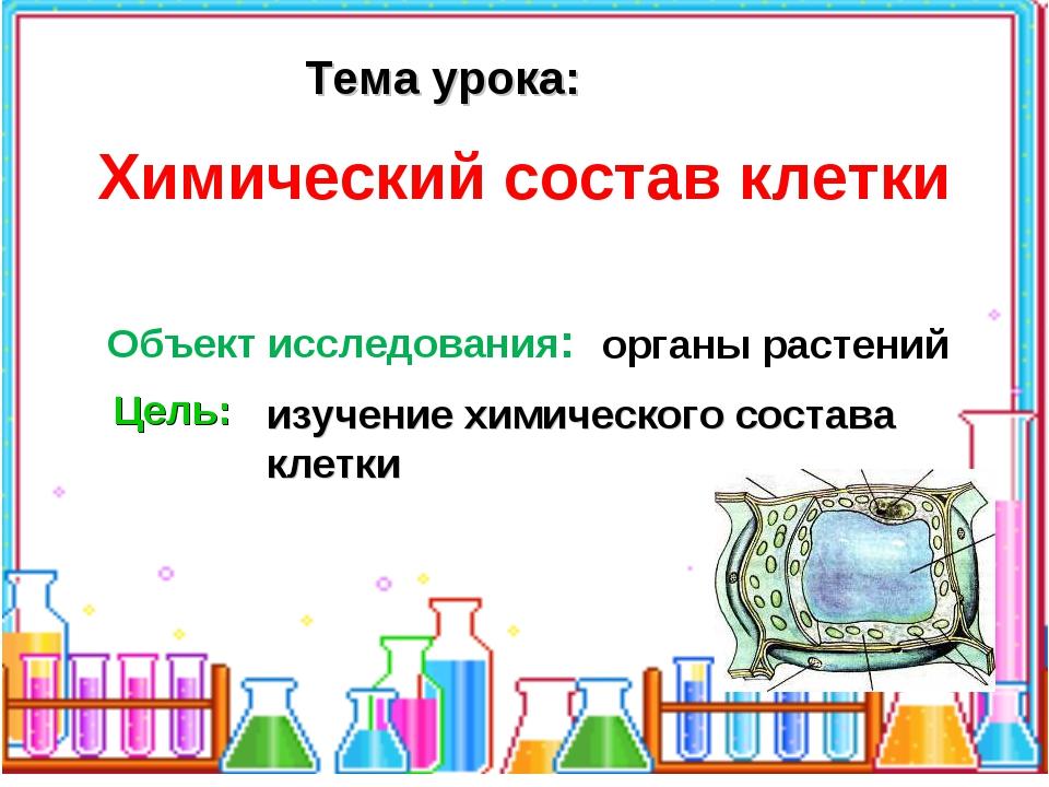 Тема урока: Объект исследования: органы растений Цель: изучение химического с...