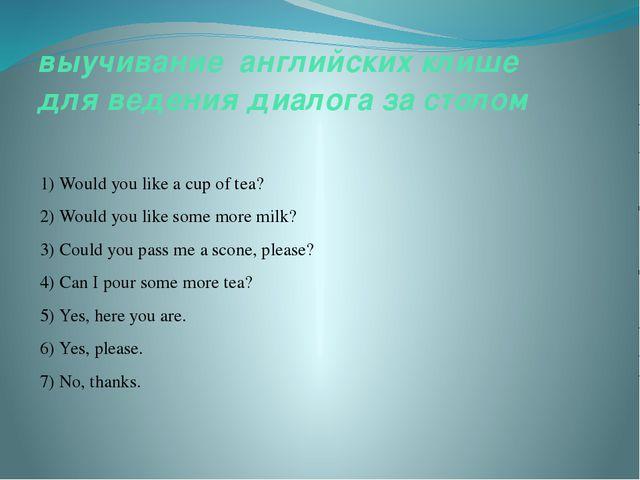 выучивание английских клише для ведения диалога за столом 1) Would you like a...