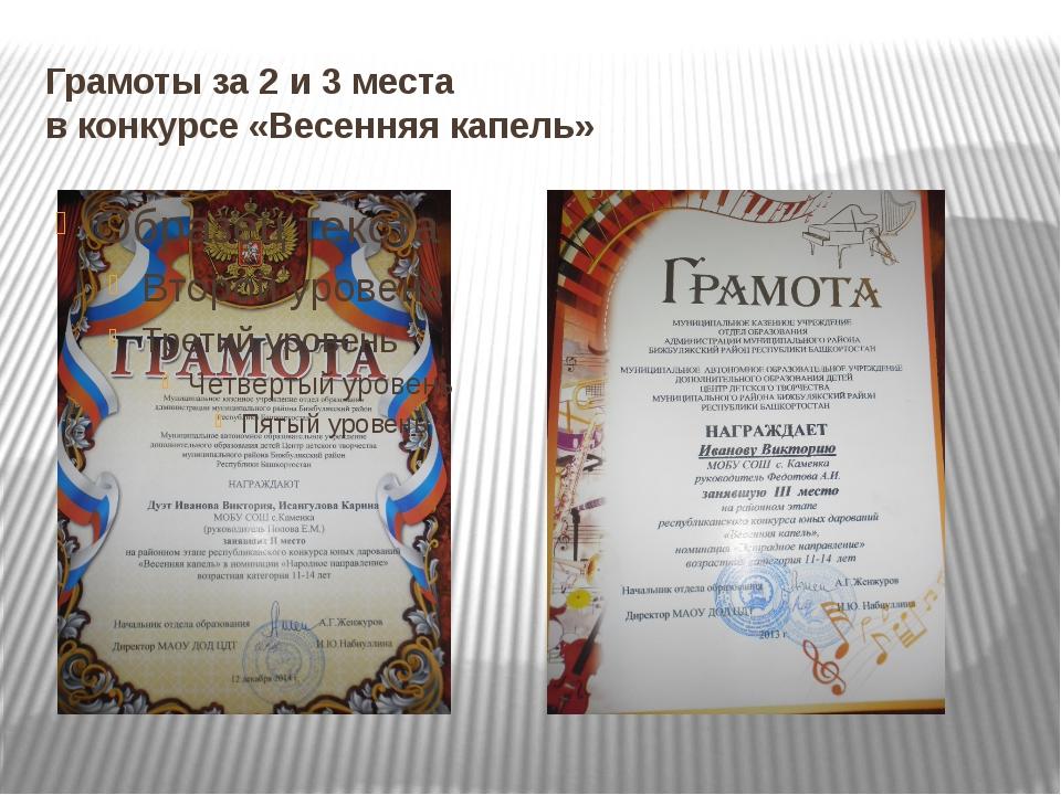 Грамоты за 2 и 3 места в конкурсе «Весенняя капель»