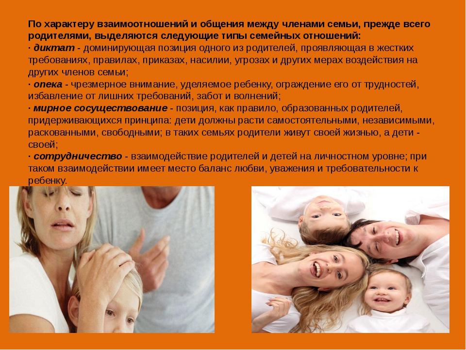 По характеру взаимоотношений и общения между членами семьи, прежде всего роди...