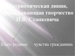 Патриотическая линия, пронизывающая творчество Н.В. Станкевича благо родины ч