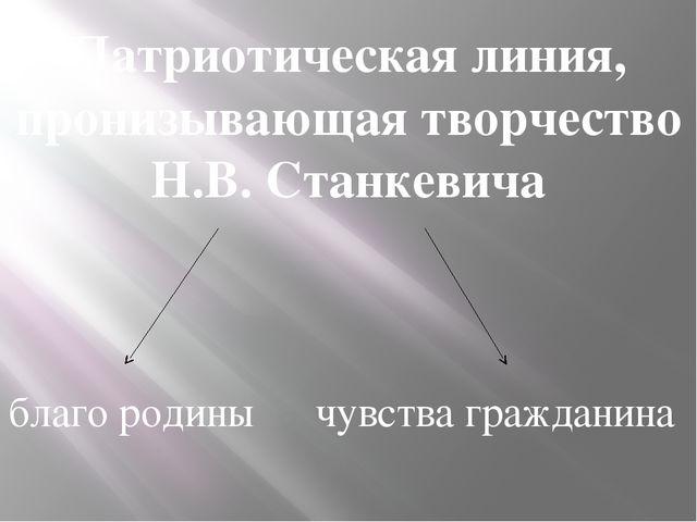Патриотическая линия, пронизывающая творчество Н.В. Станкевича благо родины ч...