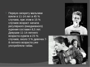Первую сигарету мальчики взяли в 11-14 лет в 45% случаев, при этом в 15% с