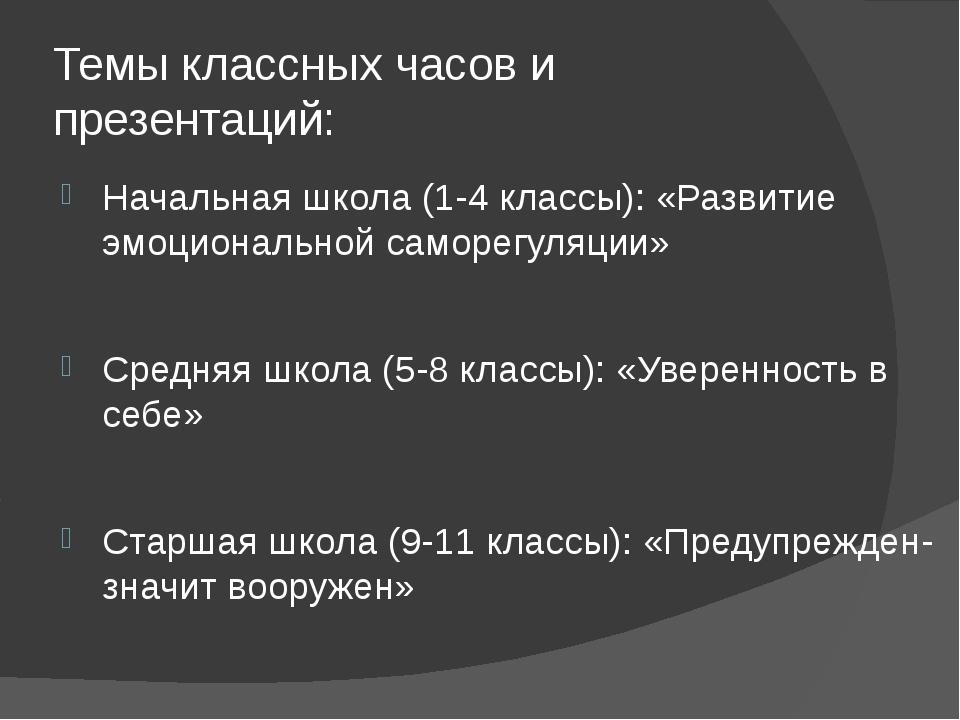 Темы классных часов и презентаций: Начальная школа (1-4 классы): «Развитие эм...
