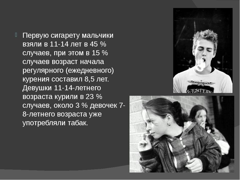 Первую сигарету мальчики взяли в 11-14 лет в 45% случаев, при этом в 15% с...