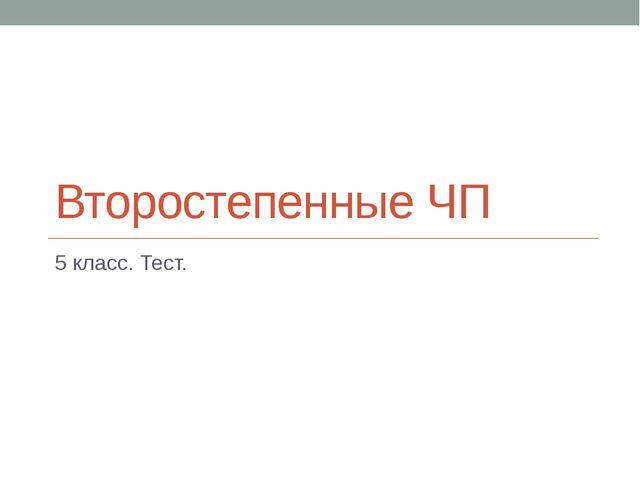 Второстепенные ЧП 5 класс. Тест.