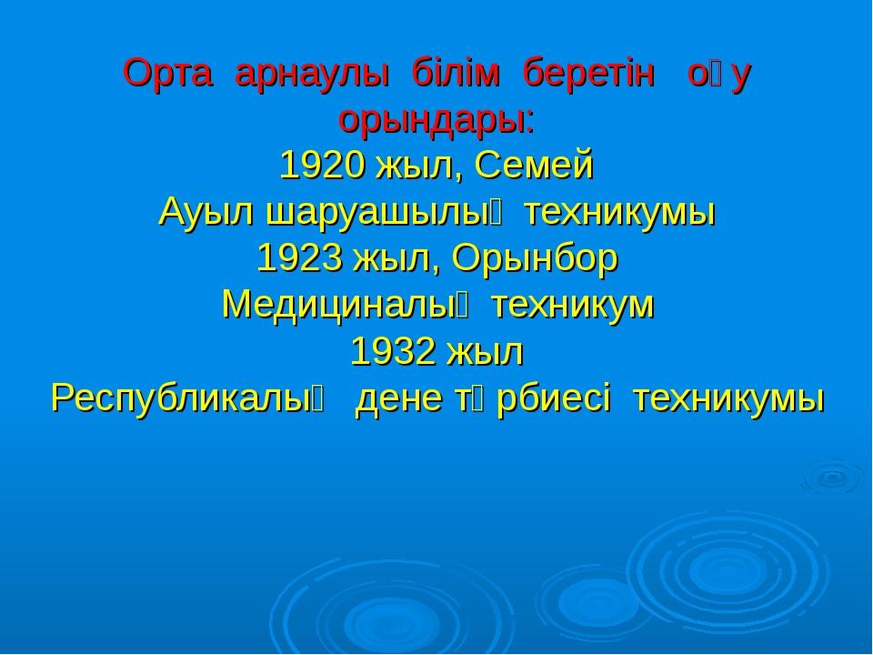 Орта арнаулы білім беретін оқу орындары: 1920 жыл, Семей Ауыл шаруашылық тех...