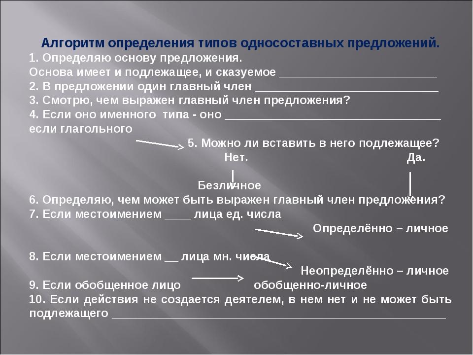 Алгоритм определения типов односоставных предложений. 1. Определяю основу пре...
