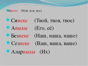 Минеке (Мой, моя, мое) Синеке (Твой, твоя, твое) Аныкы (Его, её) Безнеке (Наш