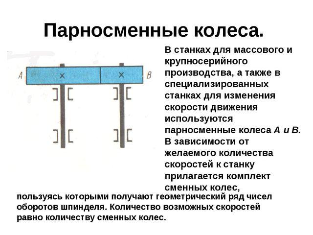Парносменные колеса. В станках для массового и крупносерийного производства,...
