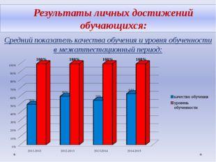 Результаты личных достижений обучающихся: Средний показатель качества обучени