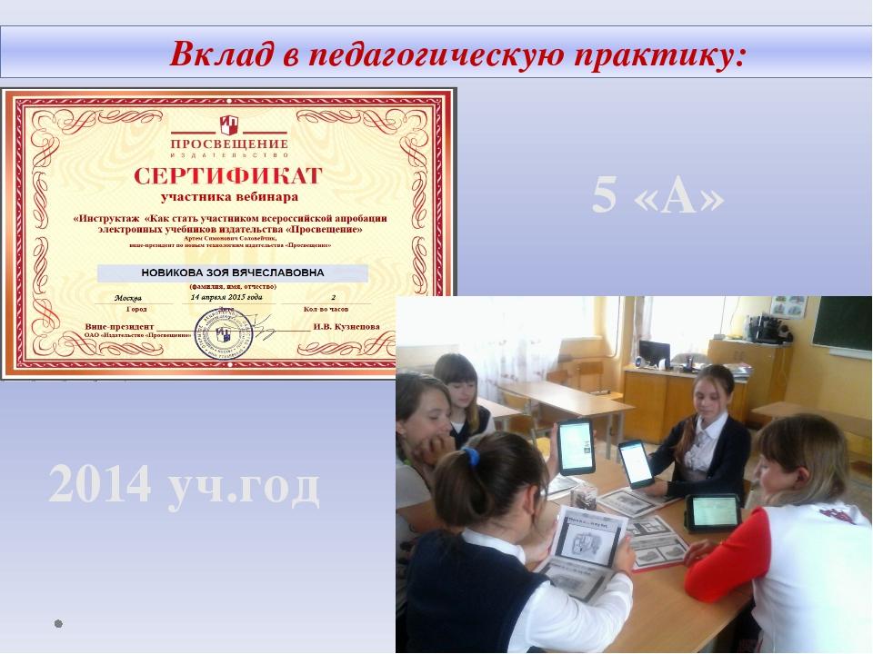 Вклад в педагогическую практику: 5 «А» 2014 уч.год