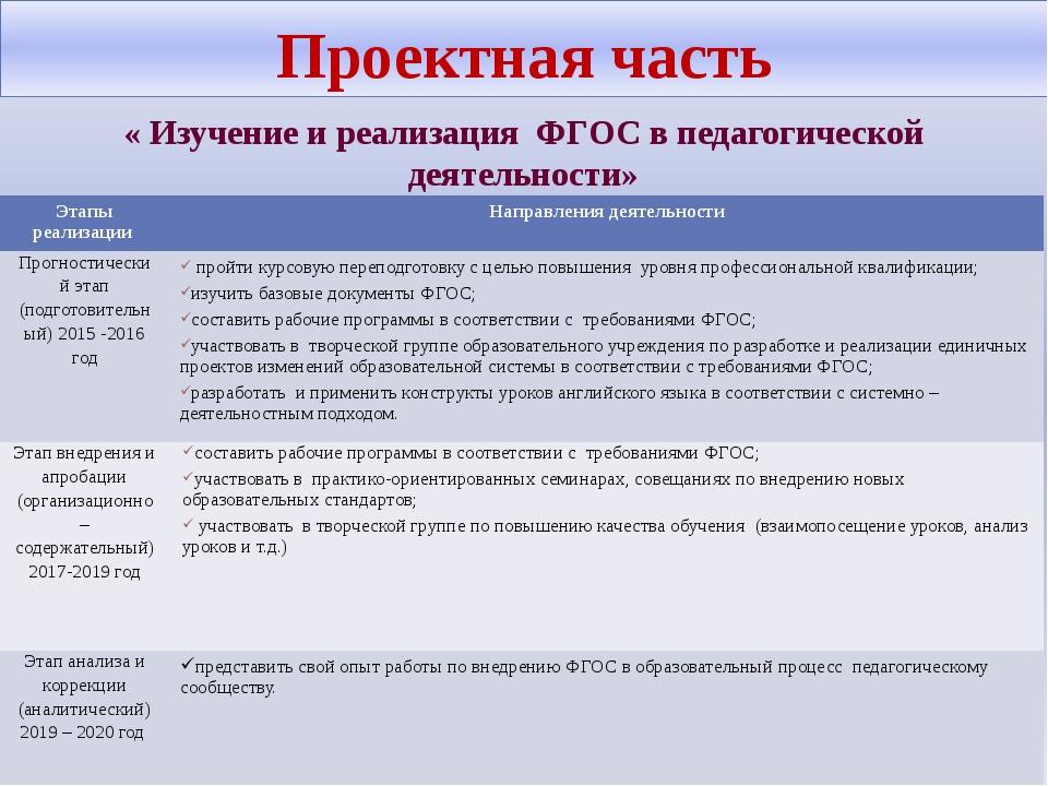 Проектная часть « Изучение и реализация ФГОС в педагогической деятельности» Э...