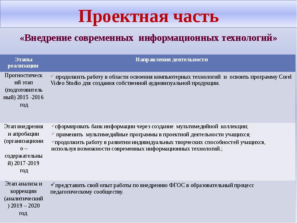 Проектная часть «Внедрение современных информационных технологий» Этапы реали...