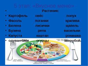 5 этап: «Вкусное меню» Растения: Картофель овёс лопух Фасоль поганки крапива
